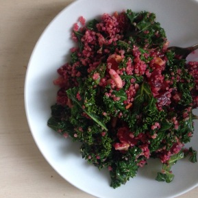 Warm Kale Salad w/ Beets andQuinoa